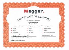 Сертификат Megger 2014