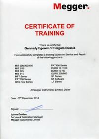 Сертификат Megger 5 декабря 2014 Егоров